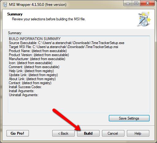 Creating msi-package