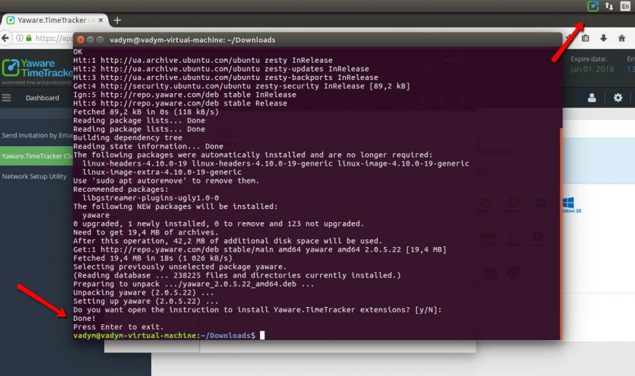 Install Yaware on Ubuntu - step 6